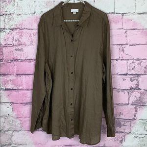 J. Jill 100% linen long sleeve button down shirt